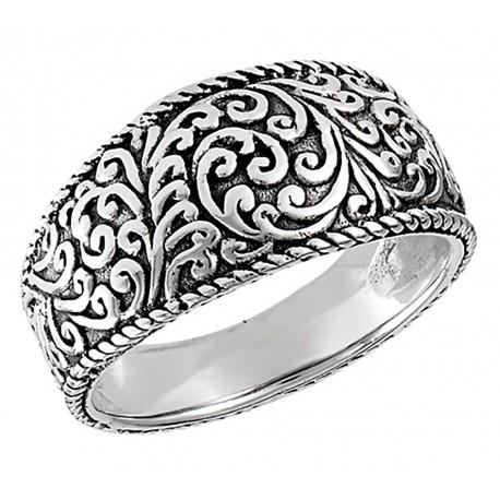 Sterling Silver Oxidized Tibetan Ring