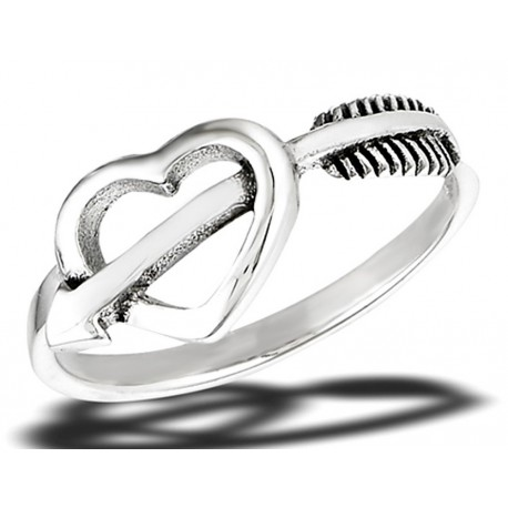 Sterling Silver Arrow Through A Heart Ring