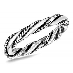 Sterling Silver Bali Style Triple Twist Ring