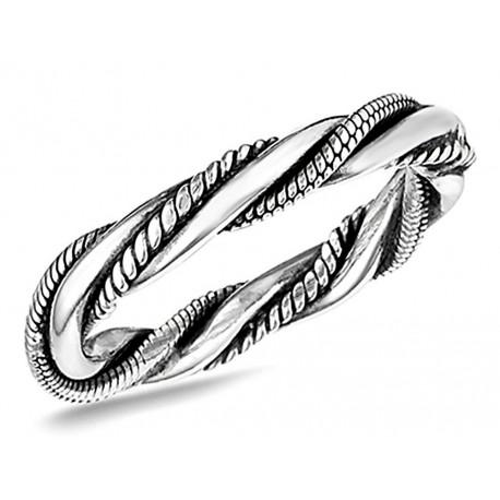 Sterling Silver Bali Style Triple Twist Ring