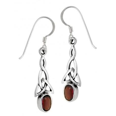 Sterling Silver Celtic Earrings with Garnet