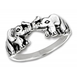 Sterling Silver Ring with Kissing Elephants