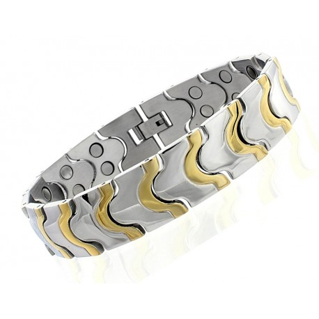 Gold Plated Stainless Steel Magnetic Bracelet Double Magnets