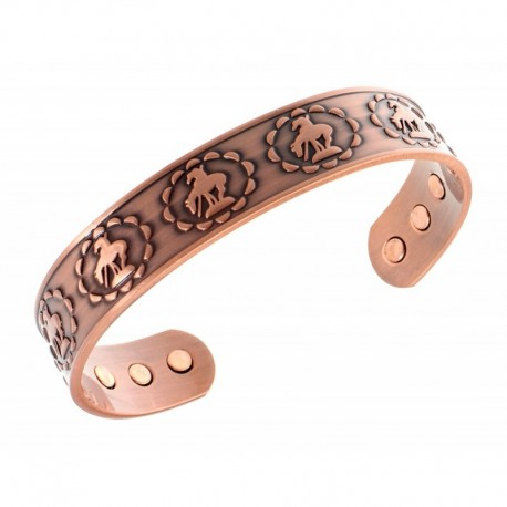 Magnetic Copper Bracelet with Horses