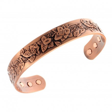 Magnetic Copper Bracelet with Flowers