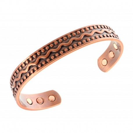 Magnetic Copper Bracelet with Waves