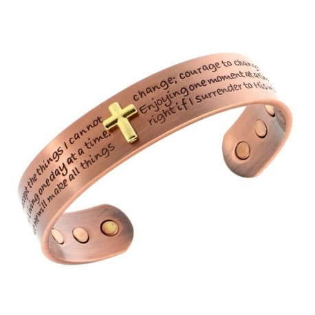 Magnetic Copper Bracelet with Cross