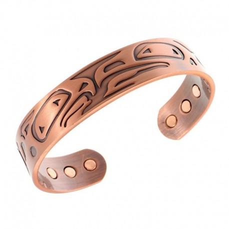 Magnetic Copper Bracelet with Eagles