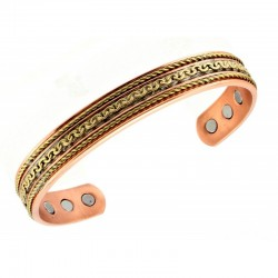 Magnetic Copper Bracelet with Gold-Tone Decor