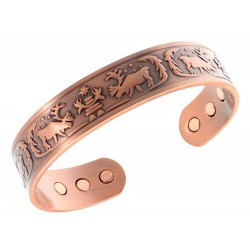 Magnetic Copper Bracelet with Reindeer