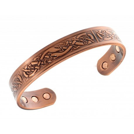 Magnetic Solid Copper Bracelet with Celtic Pattern