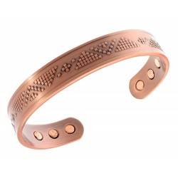 Magnetic Solid Copper Bracelet with Pyramid Pattern