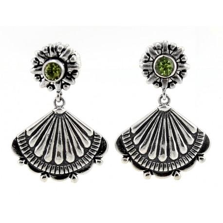Southwestern Sterling Silver Earrings with Peridot