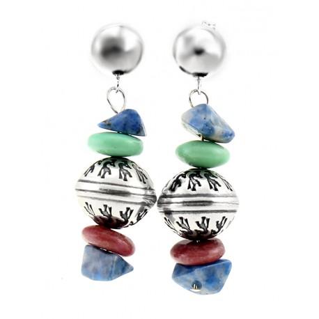 Sterling Silver Lapis & Rhodonite Dangle Bead Earrings