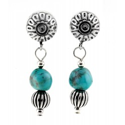 Relios / Carolyn Pollack Sterling Silver Dangle Turquoise Earrings
