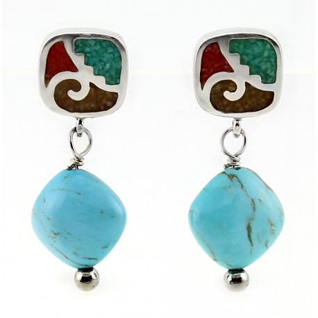 Southwest Inlay Post and Turquoise Dangle Earrings