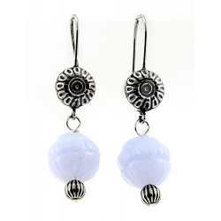 Relios / Carolyn Pollack Sterling Silver Blue Lace Agate Dangle Earrings