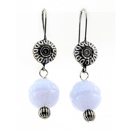 Sterling Native Pearl & Blue Lace Agate Flower Earrings