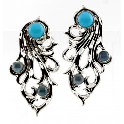 CP Signature / Carolyn Pollack Sterling Silver Turquoise and Blue Topaz Earrings