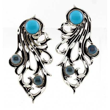Sterling Silver & Blue Topaz Gemstone Earrings
