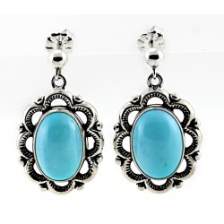 Relios / Carolyn Pollack Sterling Silver Turquoise Earrings