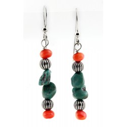 Relios / Carolyn Pollack Sterling Silver Turquoise & Coral Earrings