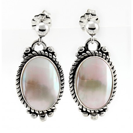 Sterling Silver & Mabe Shell Earrings