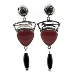 Relios / Carolyn Pollack Sterling Silver Agate Earrings