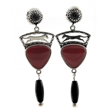 Sterling Silver & Red Agate Wildlife Earrings