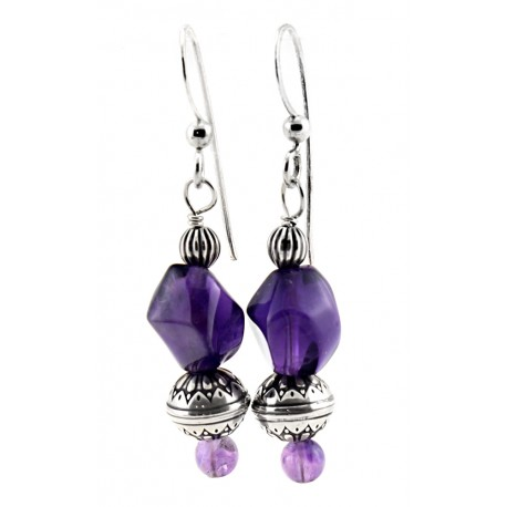 Sterling Silver Amethyst Nugget Dangle Earrings