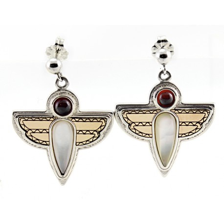 Sterling Silver & 14K Gold Dragonfly Earrings by Victoria Adams