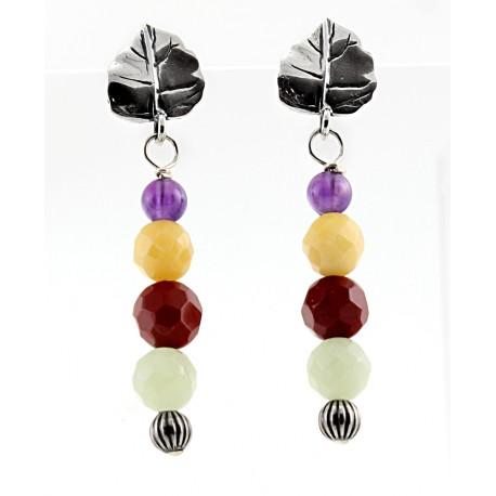 Sterling Silver & Multi-Gemstone Dangle Earrings
