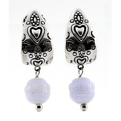 CP Signature Carolyn Pollack Sterling Silver Blue Lace Agate Dangle Earrings