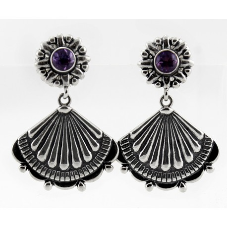 Sterling Silver & Amethyst Vintage Style Earrings
