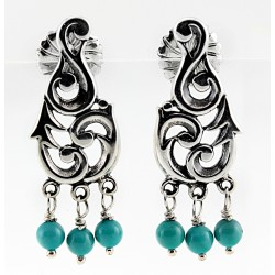 Southwestern Sterling Silver Earrings with Turquoise