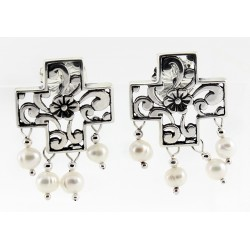 Relios / Carolyn Pollack Sterling Silver Earrings w Fresh Water Pearl