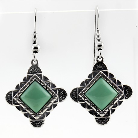 Southwest Sterling & Green Tuquoise Earrings