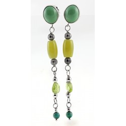 Relios / Carolyn Pollack Sterling Silver Peridot & Sage Green Earrings