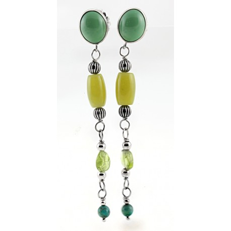 Peridot & Shades of Sage Green Earrings