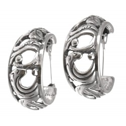 CP Signature Carolyn Pollack Sterling Silver Spanish Lace Hoop Earrings