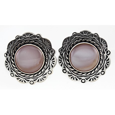 Sterling Silver Clip Earrings with Mother of Pearl