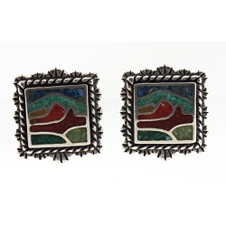Relios / Carolyn Pollack Sterling Silver Mosaic Inlay Desert Scene Earrings