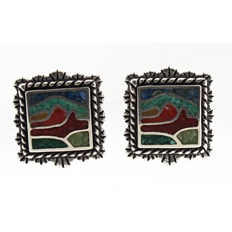 Mosaic Sterling Silver Inlay Framed Desert Scene Earrings