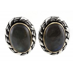 CP Signature Carolyn Pollack Sterling Silver & 18K Gold Labradorite Earrings