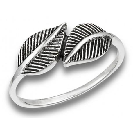Sterling Silver Hugging Leaves Ladies Ring