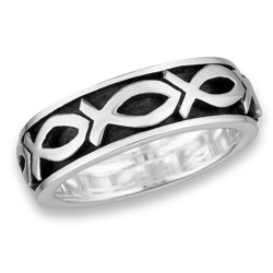 Sterling Silver Spinning Ring with Christian Fish Ichthys Ring