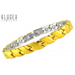 Extra Strength Stainless Steel Magnetic Ladies Bracelet Gold Plated