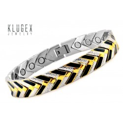 Extra Strength Black & Gold Stainless Steel Magnetic Bracelet
