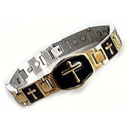 Extra Strength Stainless Steel Mens Magnetic Bracelet with Cross