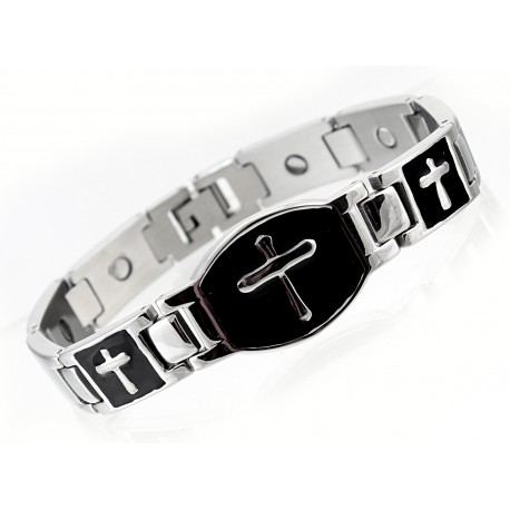 Extra Strength Silver & Black Stainless Steel Magnetic Bracelet with Cross